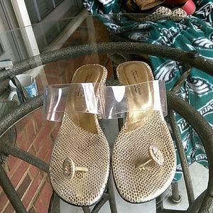 Norman Kaplan clear strapless sandal